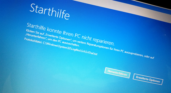 Starthilfe-Screen Windows-PC